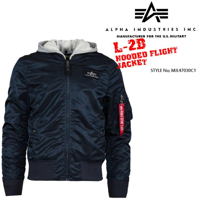 アルファ AlphaL-2B HOODED FLIGHT JACKET MJL47030C1 ミリタリー MA-1 フライトジャケット 軍 ボマージャケット ボンバージャケット フーディー
