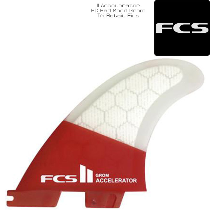 FCS II Accelerator PC Red Mood Grom Tri Retail Fins トライフィン フィン サーフィン サーフ サーフボード 3枚