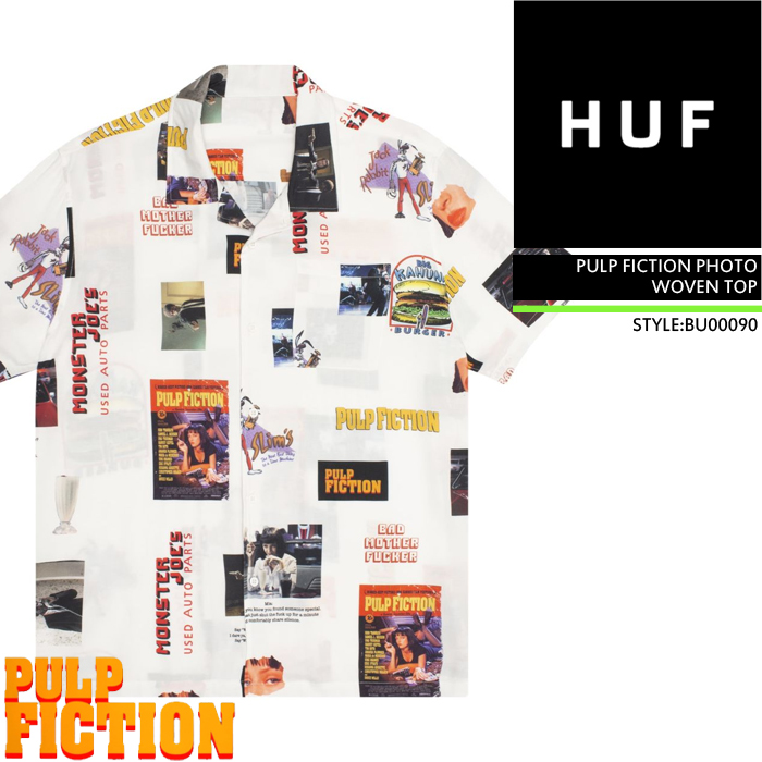 ハフ シャツ huf PULP FICTION PHOTO WOVEN TOP BU00090 半袖 ボタンシャツ 総柄 パルプフィクション コラボ メンズ 男性 ▲[その他][ホワイト]ds-Y