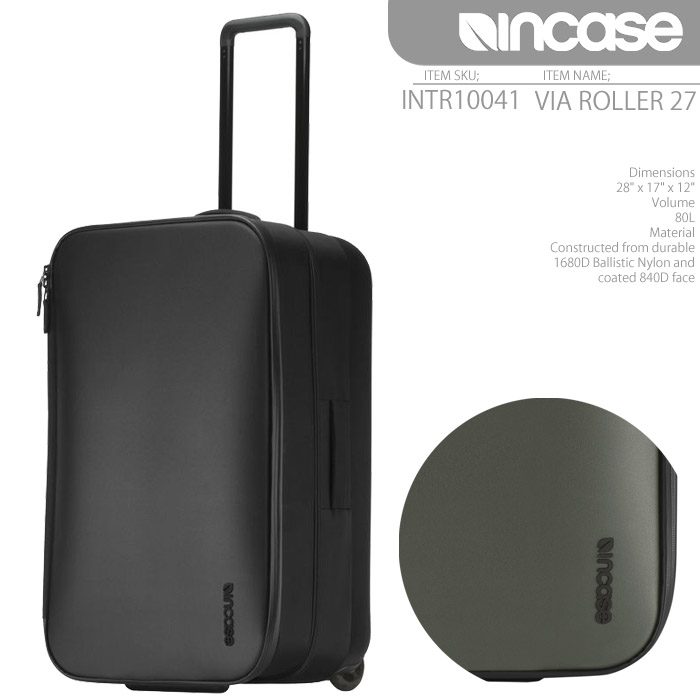 インケース バッグ スーツケース INCASE VIA ROLLER 27 80L INTR10041 ローラー キャリーバッグ キャスター メンズ レディース ユニセックス 男性 女性 ▲[ブラック][グレー]■CRNGds-Y