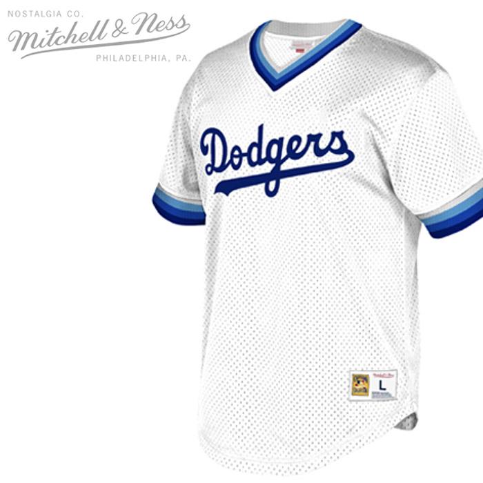 [送料無料]ミッチェル&ネス ジャージー MITCHELL & NESS MESH V-NECK JERSEY Los Angeles Dodgers WHITE ロサンゼルスドジャース メッシュ Vネック シャツ ベースボールシャツ ▲[ホワイト]