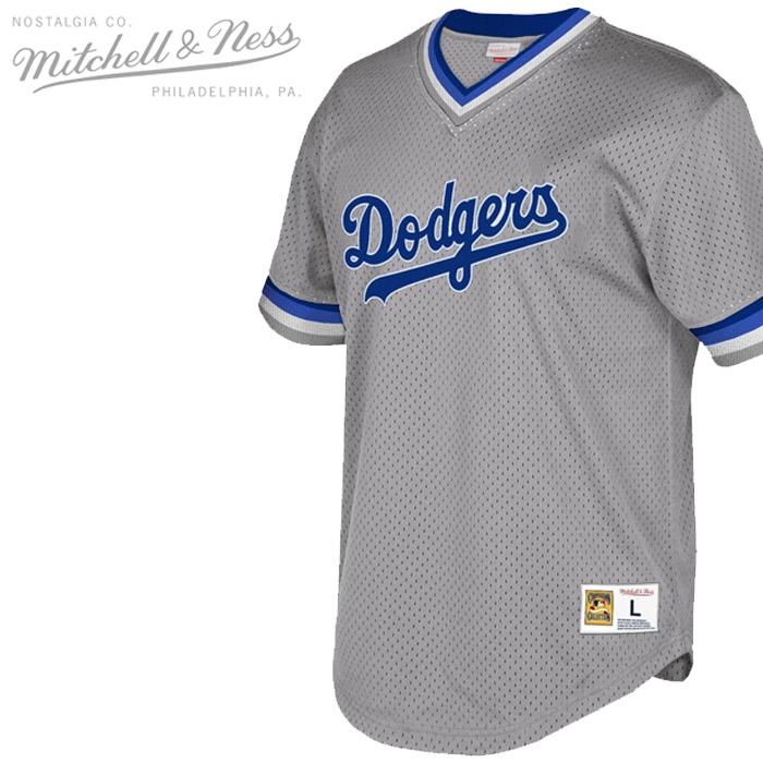 ミッチェル&ネス ジャージー MITCHELL & NESS MESH V-NECK JERSEY Los Angeles Dodgers GREY ロサンゼルスドジャース メッシュ Vネック シャツ ベースボールシャツ ▲[グレー]