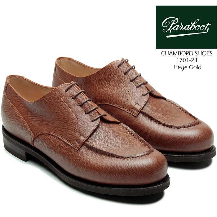 [送料無料]パラブーツ 革靴 シャンボード グッドイヤーウェルト製法 paraboot CHAMBORD SHOES 1701-23 Liege Gold 短靴 ラウンドトゥ Uチップ コンフォートシューズ タウンシューズ カジュアル フォーマル 靴▲[ブラウン]ds-Y