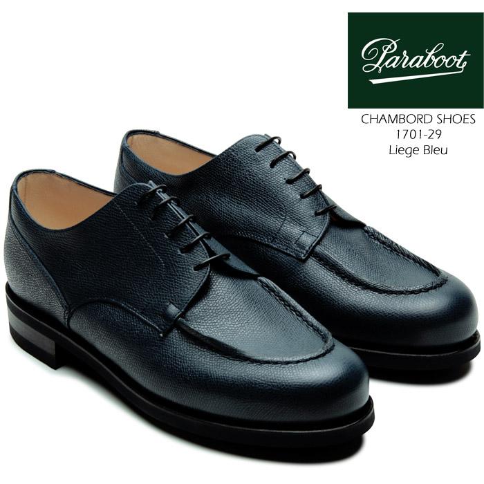 [送料無料]パラブーツ 革靴 シャンボード グッドイヤーウェルト製法 paraboot CHAMBORD SHOES 1701-29 Liege Bleu 短靴 ラウンドトゥ Uチップ コンフォートシューズ タウンシューズ カジュアル フォーマル 靴▲[ブルー]ds-Y