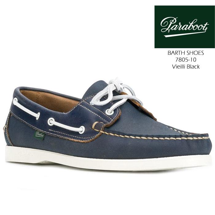 [送料無料]パラブーツ 革靴 バース paraboot BARTH SHOES 7805-10 Vieilli Black 短靴 デッキシューズ コンフォートシューズ タウンシューズ カジュアル 靴▲[ブラック]ds-Y