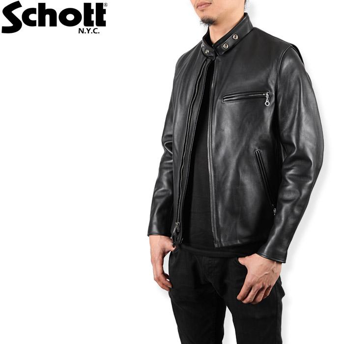 [再入荷][送料無料]ショット 革ジャン レザージャケット Schott 641 シングル ライダース スタンドカラー カード分割▲[ブラック]ds-Y