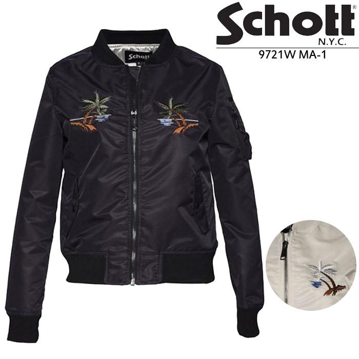 [送料無料]ショット レディース フライトジャケット Schott 9721W MA-1 ボンバージャケット ワイキキ ライダース 刺繍 スカジャン カード分割▲[ホワイト][ブラック]
