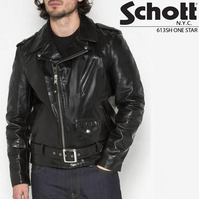 [再入荷][送料無料]ショット 革ジャン Schott 613SH ワンスター ダブル ライダース LEATHER MOTORCYCLE JACKET カード分割 ds-Y ▲[ブラック]
