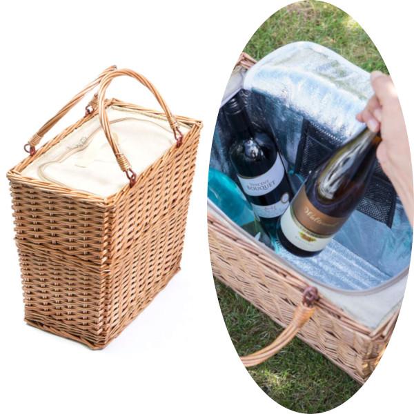 おしゃれに快適ピクニック♪保冷機能付きカゴバッグ