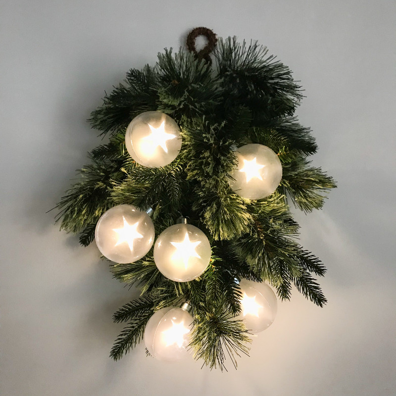 星のライトが浮かぶ!SPARKLE☆STAR モミの木リース LED