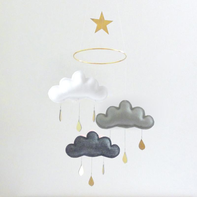 【在庫限り】カワいい!3つの雲モビール ★GOLD SHINTO★ The Butter Flying バターフライング カナダ