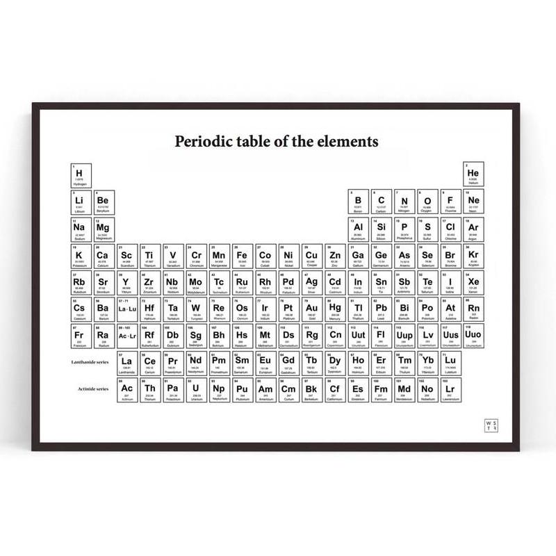 【在庫限り】Wallstuff アートポスター 元素周期表 Periodic Table モノクロ ウォールスタッフ 北欧 スウェーデン