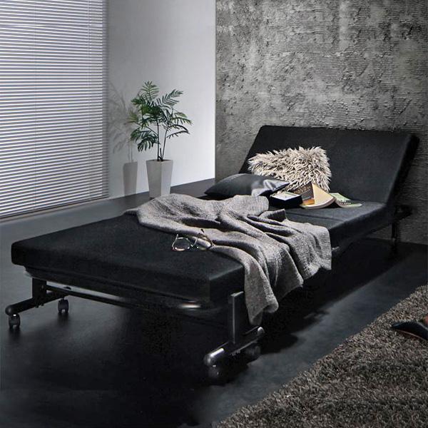 【代引不可】 低反発 折りたたみベッド シングル ブラック 黒 送料無料ベッド 折り畳みベッド 折畳みベッド リクライニングベッド 折りたたみ メッシュ コンパクト キャスター付き モダン クール 耐荷重 新生活 netc5