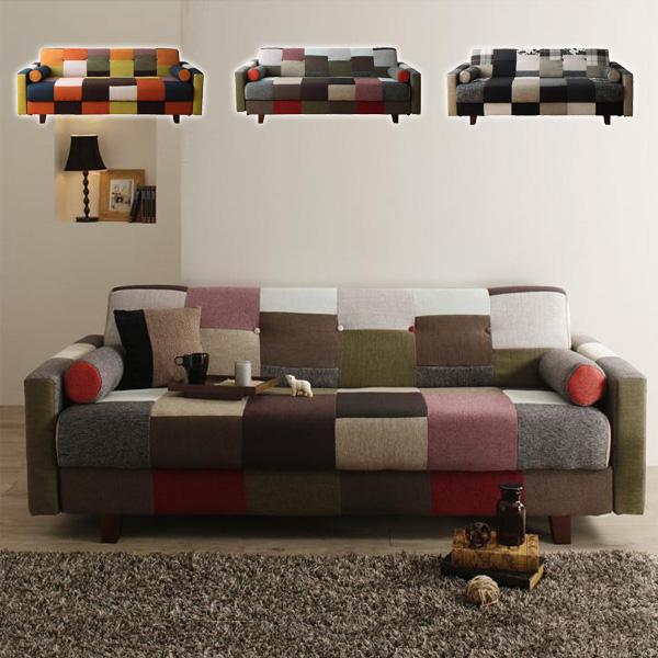 【代引不可】 デザイン ソファベッド 「Legouix/ルグー」 3人掛け ソファ ソファー ローソファ パッチワーク 収納 大型収納 収納付き ベッド おしゃれ 3人掛けソファ レッド オレンジ ベージュ 赤 ネイビー ブルー 3P 新生活 カラフル netc5