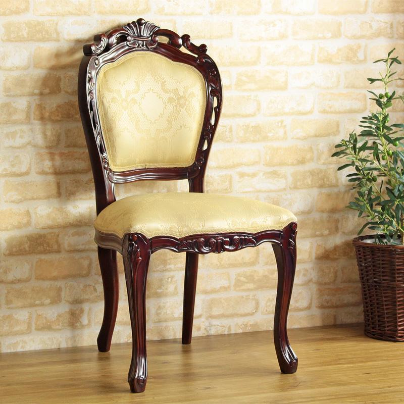 チェア 単品 1脚 アンティーク 木製 天然木 マホガニー おしゃれ 椅子 デスクチェア ダイニングチェア 食堂椅子 完成品 猫脚 天然木 プリンセス お姫様 ヨーロピアン エレガント シック 北欧 カントリー かわいい ブラウン netc5