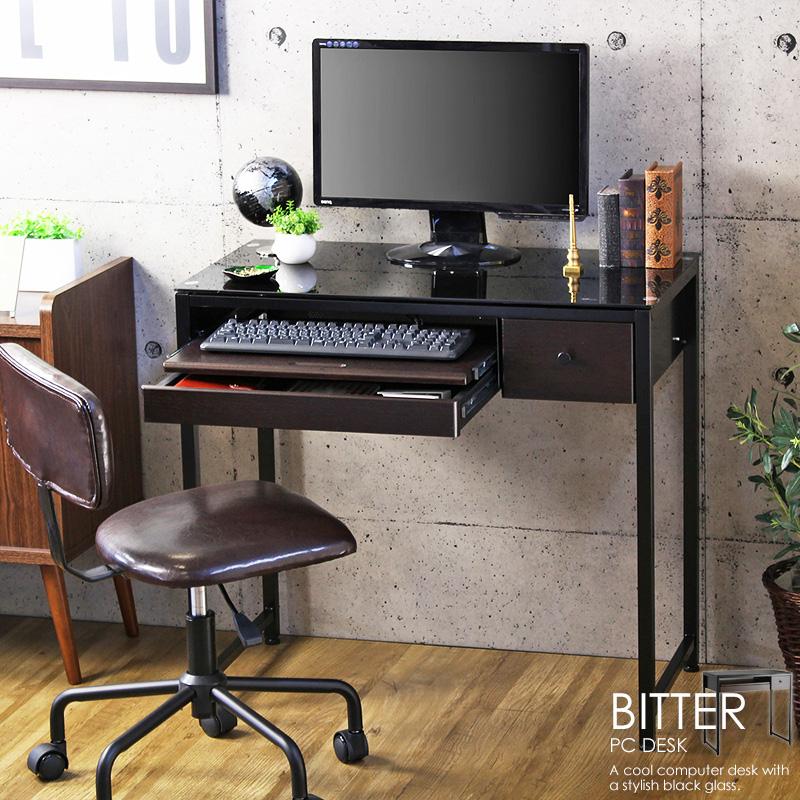 buy online 7b6d0 aa705 PC desk 85cm in width glass drawer stylish modern chic desk PC desk study  desk work desk storing slide shelf space compact 85cm width depth 45  fashion ...