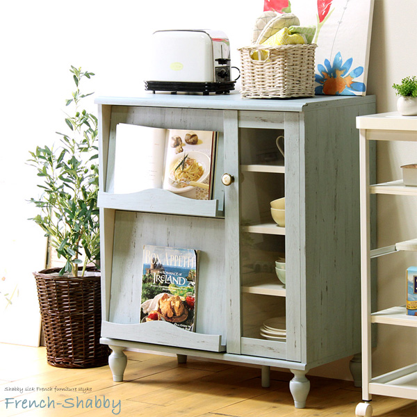 Display rack French shabby frs-9075fg rack cabinet console kitchen storage  kitchen cabinet flap display rack storage wooden stylish Shabby Chic ...