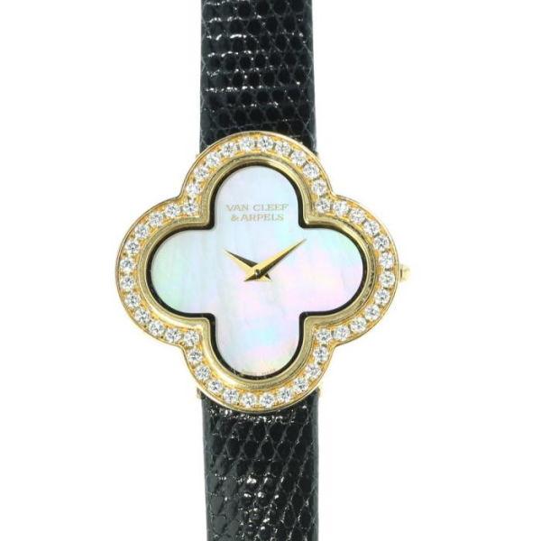 【中古】【レディース】ヴァン クリーフ&アーペル アルハンブラ ダイヤモンド スモール ウォッチ VAN CLEEF & Arpels Alhambra Diamonds Small Watch/VCARM95900
