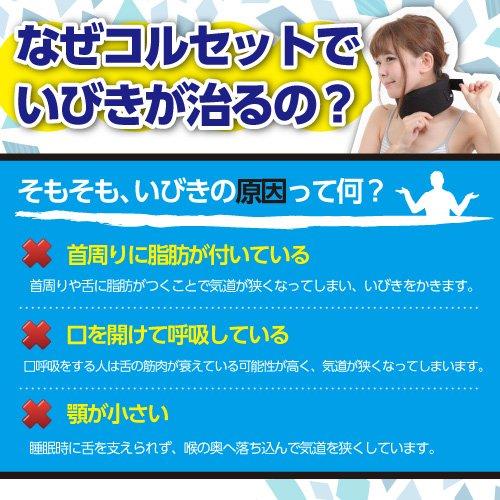 NET-O いびき用コルセット【顎を下げず、気道を確保】ブラック3サイズ 1か月保証付