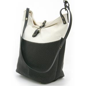 【SOL】 帆布×PUトートバッグ / ホワイト×ブラック [ トートバッグ / 鞄 ]