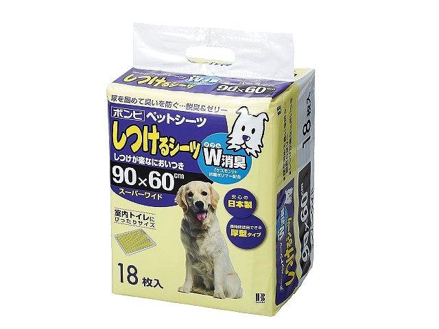 ボンビアルコン しつけるシーツ W消臭 スーパーワイド 108枚 (18枚×6パック) 【ペットシーツ/トイレ/大型犬】