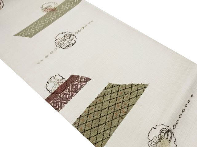 未使用品 すくい織刺子雪輪に松梅・花七宝模様袋帯(未仕立て)【リサイクル】【中古】