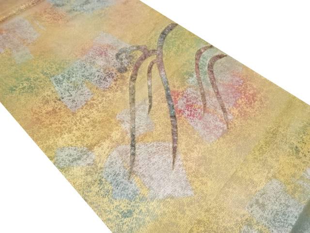 引き箔螺鈿荒波に抽象模様織り出し袋帯(未仕立て)【リサイクル】【中古】