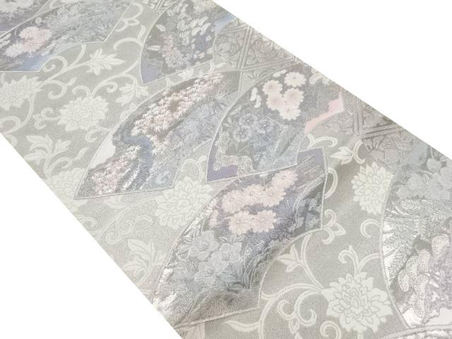 プラチナ箔地紙に秋草模様織り出し袋帯【リサイクル】【中古】