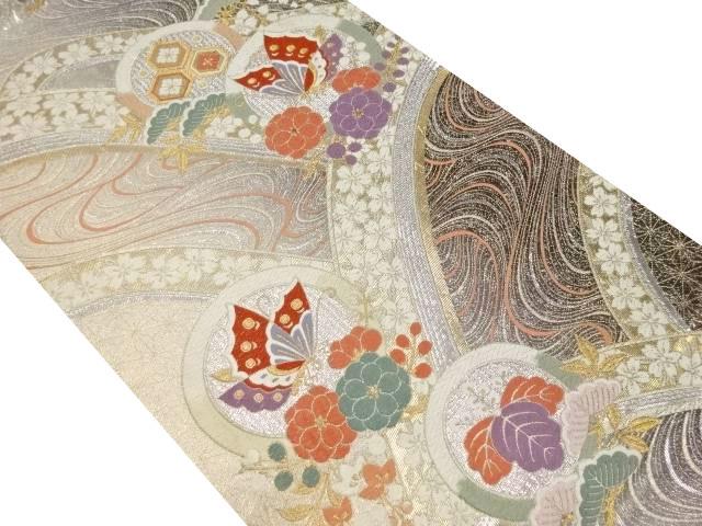 純金箔24K貮重箔波に蝶・松竹梅・桜模様織り出し袋帯【リサイクル】【中古】
