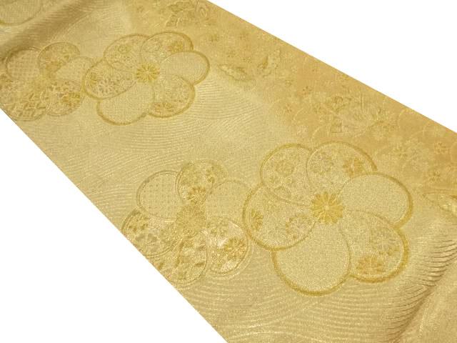 本金ねじり花に蝶模様織り出し袋帯【リサイクル】【中古】