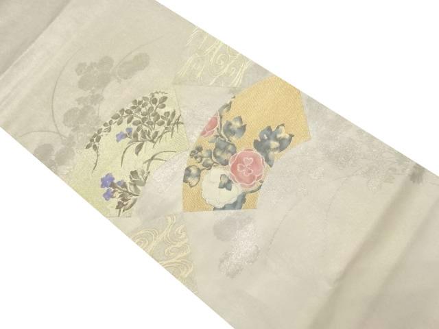 未使用品 じゅらく製 金糸地紙に花模様織り出し袋帯【リサイクル】【中古】