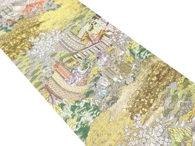 弐拾四金箔京洛時代祭還幸絵巻織り出し袋帯【リサイクル】【中古】