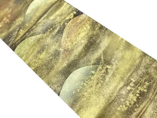 本金遠山に箔散らし模様織り出し袋帯【リサイクル】【中古】
