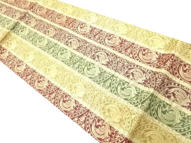 未使用品 縞に向かい鳳凰丸紋織り出し袋帯【リサイクル】【中古】