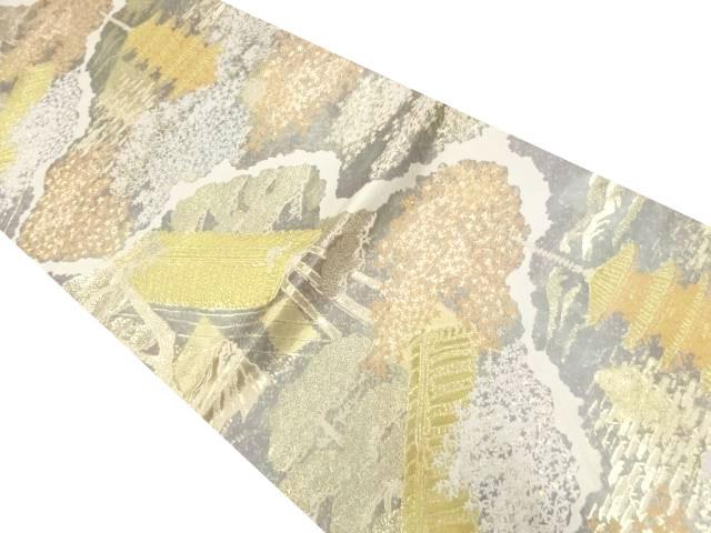 服部織物製 本金箔東山風景文様織り出し袋帯【リサイクル】【中古】