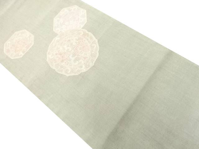 手織り節紬蘇州刺繍絵皿に花唐草模様洒落袋帯【リサイクル】【中古】