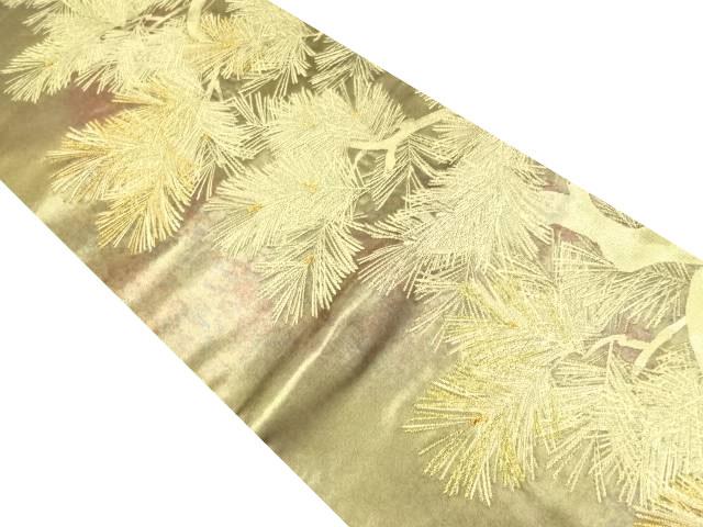 未使用品 紋屋五左衛門謹製 本金箔松模様織り出し袋帯【リサイクル】【中古】