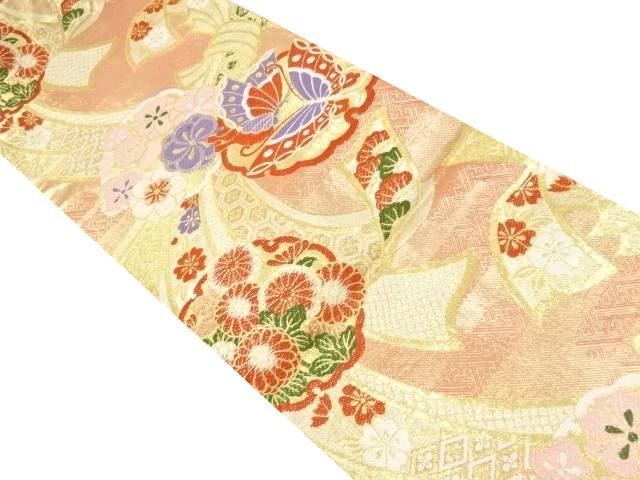 佐賀錦束ね熨斗に菊・蝶・梅模様織り出し袋帯【リサイクル】【中古】