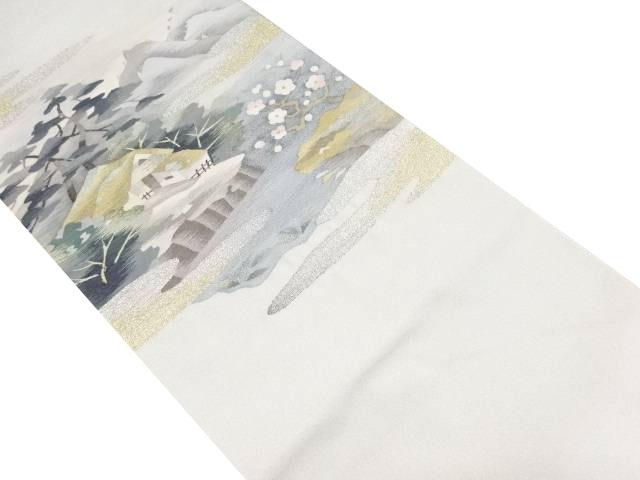 明綴れ家屋に梅・遠山風景模様織り出し袋帯【リサイクル】【中古】
