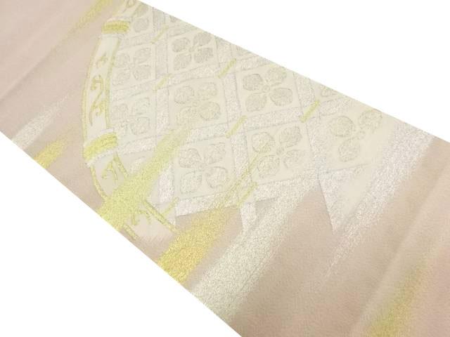 綴れ金通し霞に花菱模様織り出し袋帯【リサイクル】【中古】