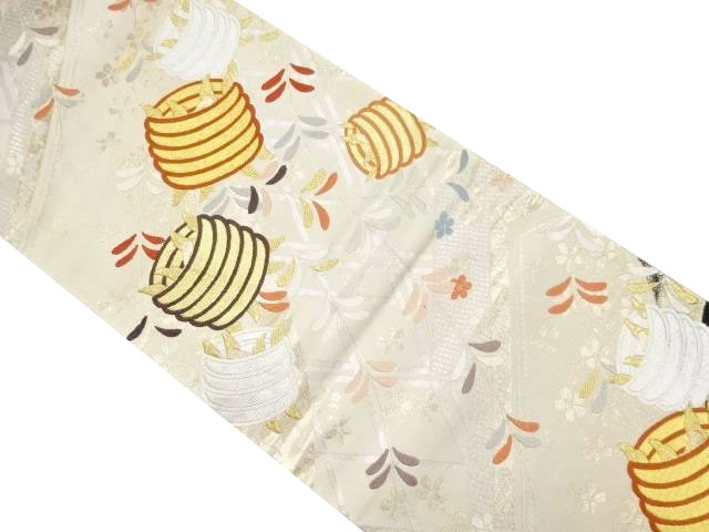 金銀糸糸巻きに枝垂れ模様織り出し袋帯【リサイクル】【中古】