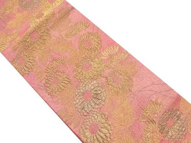 漆箔金糸菊模様織り出し袋帯【リサイクル】【中古】