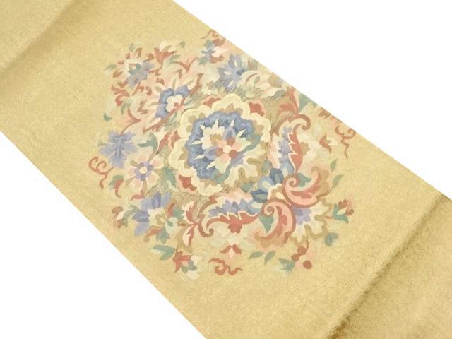 未使用品 すくい織綴れ華紋織り出し袋帯【リサイクル】【中古】