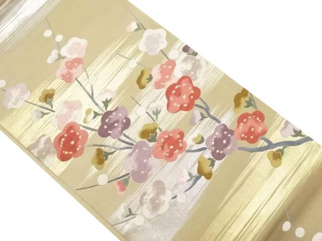 霞に枝花模様織り出し袋帯【リサイクル】【中古】