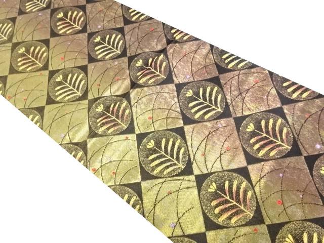 本金市松に松葉模様織り出し袋帯【リサイクル】【中古】