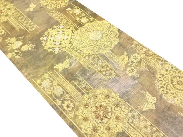 本金華紋に蝶模様織り出し袋帯【リサイクル】【中古】