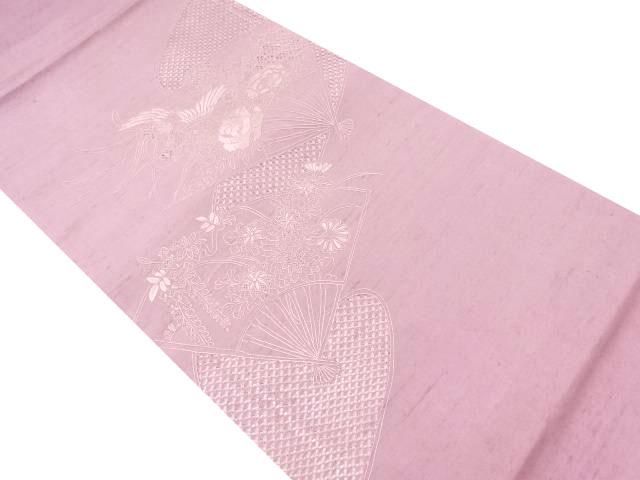 汕頭蘇州刺繍扇面に草花・鳳凰模様袋帯【リサイクル】【中古】