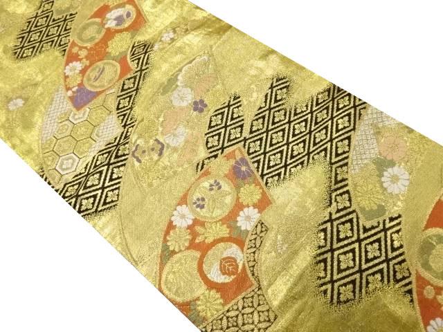 金糸地紙に家紋・花菱模様織り出し袋帯【リサイクル】【中古】