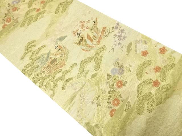 金糸松に屋敷・竜頭鷁首模様織り出し袋帯【リサイクル】【中古】