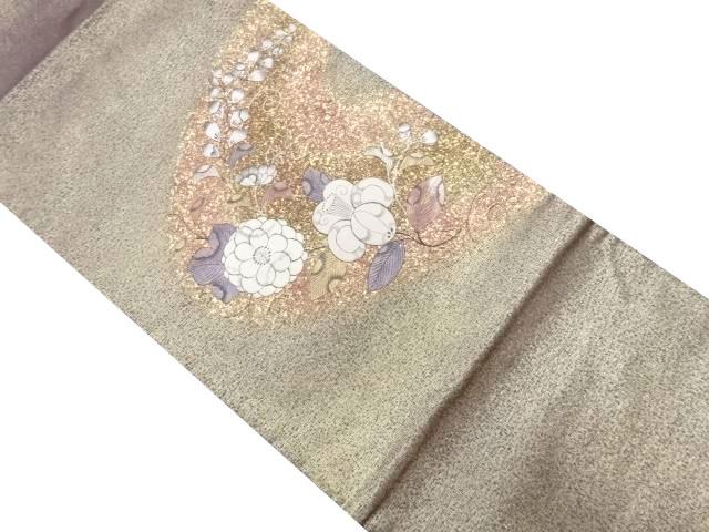 霞取りに辻ヶ花模様刺繍袋帯【リサイクル】【中古】